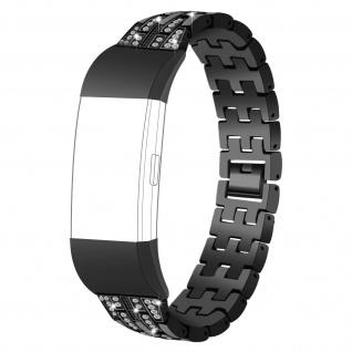 FitBit Charge 2 Diamonds Edelstahl Armband Butterfly-Faltschließe ? Schwarz