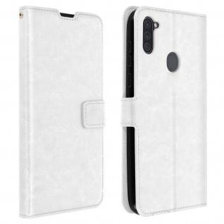 Flip Stand Case Brieftasche & Standfunktion für Galaxy A11 - Weiß