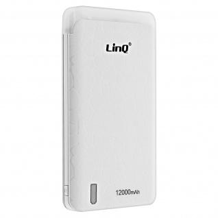 LinQ B09 12000mAh 1.5A Powerbank, Akkupack mit USB-Port, LED-Lampe - Weiß