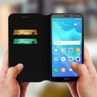 Flip Cover Geldbörse Classic Edition Huawei Y5 2018 / Honor 7S - Schwarz