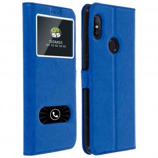 Flip Cover Doppelfenster & Standfunktion, Klappetui Xiaomi Redmi Note 5 - Blau