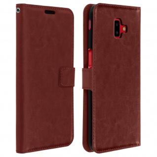 Flip Cover Stand Case Brieftasche & Standfunktion für Galaxy J6 Plus - Braun