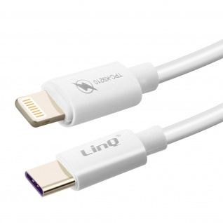 LinQ Weißes USB-C auf Lightning 60W PD 3A Fast Charge 1, 2M Lade-/Datenkabel