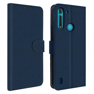 Soft Touch Flip-Cover mit Standfunktion Moto G8 Power Lite - Dunkelblau