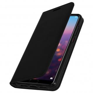 Huawei P20 Pro Flip-Cover aus Echtleder, Klappetui im Brieftaschenstil - Schwarz