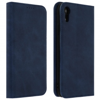 Flip Cover Geldbörse, Kunstleder Klappetui für Apple iPhone XR - Blau