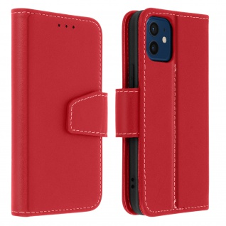 Premium Rindsleder Klapphülle für Apple iPhone 12, iPhone 12 Pro ? Rot