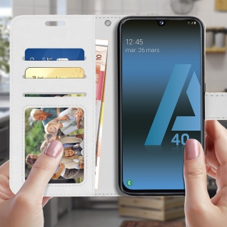 Flip Stand Cover Brieftasche & Standfunktion für Samsung Galaxy A40 - Weiß - Vorschau 3