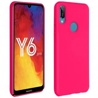 Halbsteife Silikon Handyhülle Huawei Y6 2019, Soft Touch - Fuchsienrot