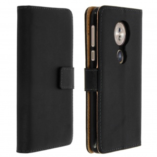 Motorola Moto G6 Play/ Moto E5 Leder Cover mit Standfunktion - Schwarz