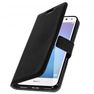 Flip-Cover Stand Case Brieftasche & Standfunktion für Huawei Y6 2017 - Schwarz