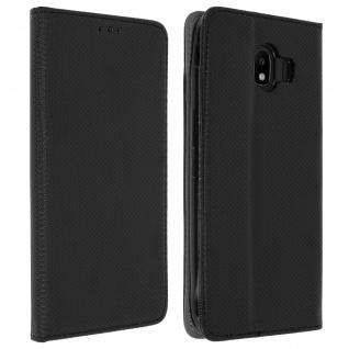 Samsung Galaxy J4 Flip Cover mit Kartenschlitz & Standfunktion - Schwarz