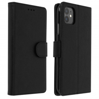 Flip Cover Geldbörse, Klappetui Kunstleder für Apple iPhone 11 ? Schwarz