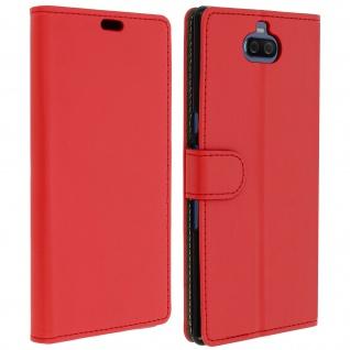 Soft Touch Flip-Cover Geldbörse mit Standfunktion für Sony Xperia 10 Plus ? Rot