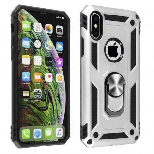 Hybrid Handyhülle mit Ring Halterung für Apple iPhone XS Max - Silber