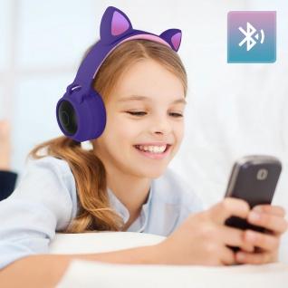 Katzenohren kabellose Bluetooth Kopfhörer, Kitty Headset ? Violett - Vorschau 3
