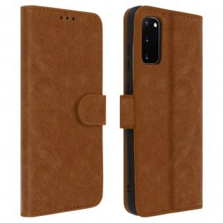 Flip Cover Geldbörse, Klappetui Kunstleder für Samsung Galaxy S20 - Braun