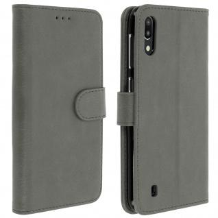 Flip Cover Geldbörse, Klappetui Kunstleder für Samsung Galaxy M10 / A10 - Grau