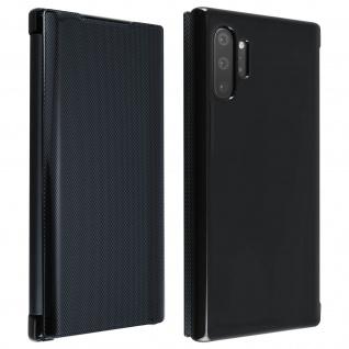 Hald-durchsichtige Klapphülle mit Chrom Design für Galaxy Note 10 Plus - Schwarz