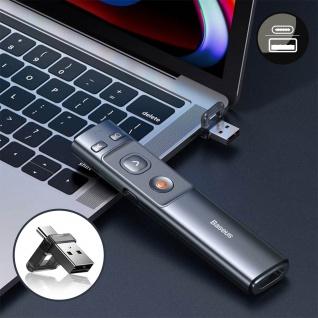 Präsentationsfernbedienung Laserpointer(100m), USB-C Anschluss, Baseus - Schwarz - Vorschau 3