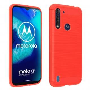 Motorola Moto G8 Power Lite Silikon Schutzhülle mit Carbon/Aluminium Look - Rot