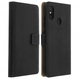 Xiaomi Mi 8 Cover aus Echtleder mit Standfunktion & Kartenfach - Schwarz