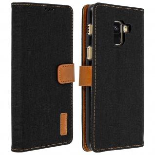 Denim Flip Cover Geldbörse mit Standfunktion für Samsung Galaxy A8 - Schwarz