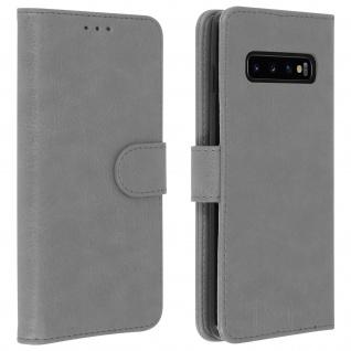 Flip Cover Geldbörse, Klappetui Kunstleder für Samsung Galaxy S10 Plus - Grau