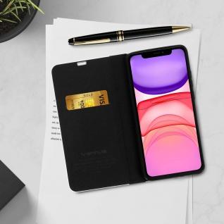 Apple iPhone 11 Klappetui, Cover mit Carbon Design & Ständer ? Schwarz - Vorschau 4