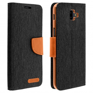 Canvas Serie Flip-Cover für Samsung Galaxy J6 Plus + Standfunktion - Schwarz