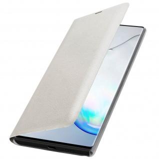 Flip Book Cover, Klappetui aus Kunstleder für Samsung Galaxy Note 10 - Weiß - Vorschau 2