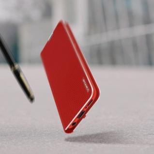 Samsung Galaxy A71 Klappetui, Cover mit Carbon Design & Ständer ? Rot - Vorschau 5
