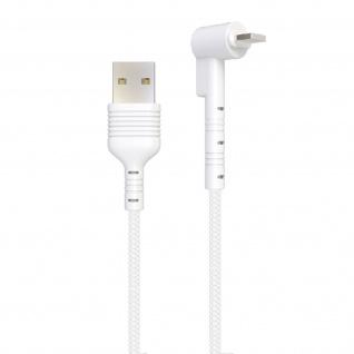 USB / Lightning Kabel mit abgewinkeltem Stecker 1m Inkax CK71 ? Weiß - Vorschau 2