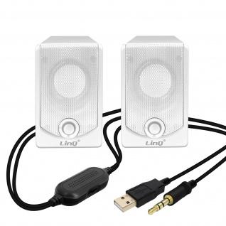 3, 5mm 3W x 2 Lautsprechersystem mit Kabel, LinQ A2033 â€? Schwarz / Weiß