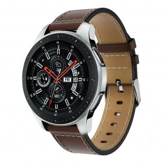 Glattleder Armband mit Ziernähten für Samsung Galaxy Watch 46 mm ? Braun