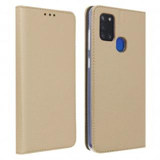 Wallet Cover, Klapphülle für Samsung Galaxy A21s, Kartenfach und Ständer ? Gold