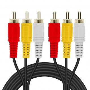 3x Cinch-Stecker auf 3x Cinch-Stecker Videokabel, Länge 5m LinQ - Schwarz