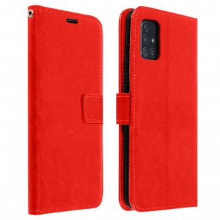 Flip Cover Stand Case Brieftasche & Standfunktion Samsung Galaxy A51 ? Rot