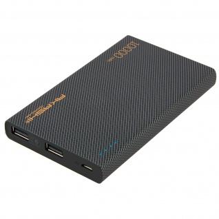 10 000 mAh Soft Touch Turbo Powerbank, 2x USB-Ports von Akashi - Schwarz