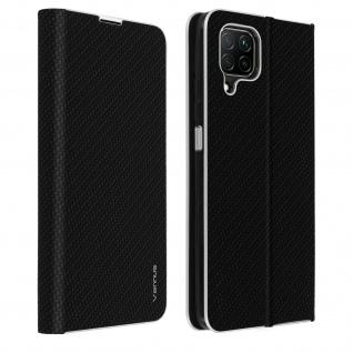 Huawei P40 Lite Klappetui, Cover mit Carbon Design & Ständer - Schwarz