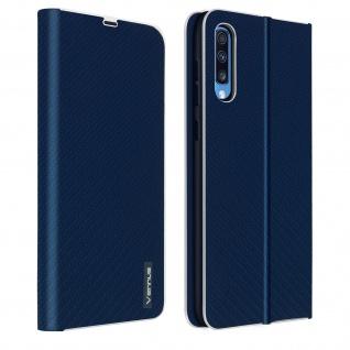Samsung Galaxy A50 / A30s Klappetui, Cover mit Carbon Design & Ständer ? Blau