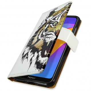 Huawei Y6 2019 / Y6S / Honor 8A Klapphülle mit Tiger-Muster, Kartenhalter â€? Weiß