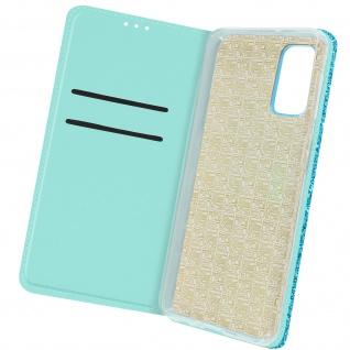 Glitter Klapphülle, Glitzernde Handyhülle für Samsung Galaxy A32 5G â€? Türkisblau