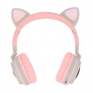 Katzenohren kabellose Bluetooth Kopfhörer, Kitty Headset ? Beigegrau