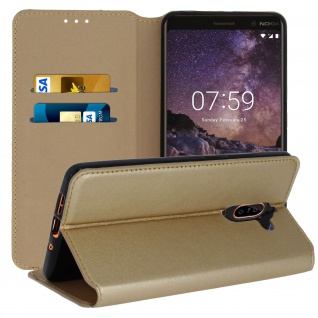 Flip Cover Geldbörse Classic Edition, Klappetui Kunstleder Nokia 7 Plus - Gold