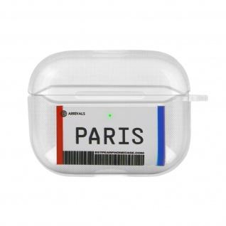 Weiche Silikonhülle für AirPods Pro, Paris Fahrkarte Design - Weiß