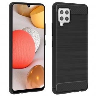 Samsung Galaxy A42 5G Schutzhülle mit Aluminium und Carbon Design ? Schwarz