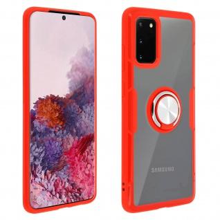 Stoßfeste Handyhülle mit Ring-Halterung für Samsung Galaxy S20 - Rot