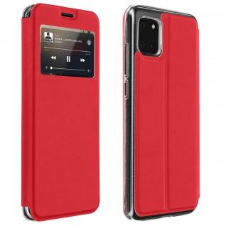 Samsung Galaxy Note 10 Lite Kunstlederetui mit Sichtfenster & Kartenfach � Rot