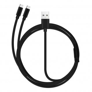 USB auf 2x USB-C PS5 / Xbox / Smartphone Controller Kabel - Schwarz